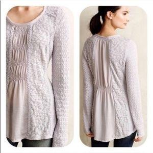 Anthro Light Purple Multi Fabric Ruched Sweater